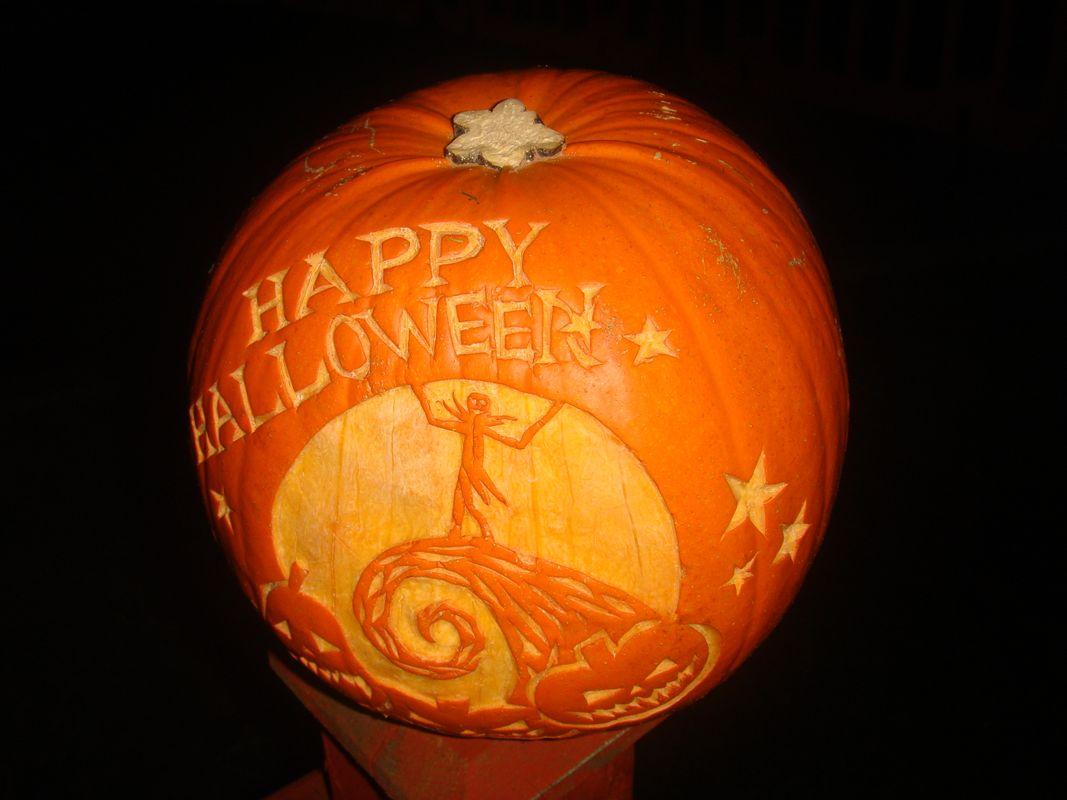 Hand Crafted Big Orange Pumpkin Carve Happy Halloween