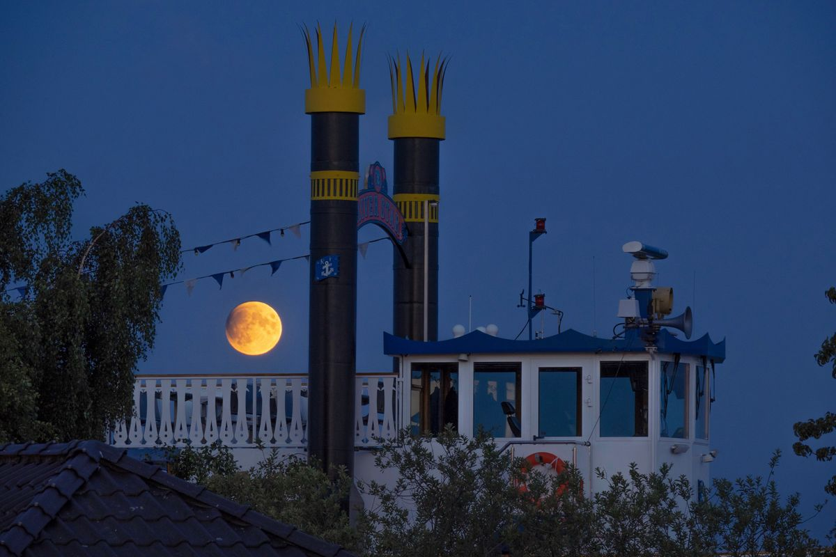 Full Moon with beginning lunar eclipse