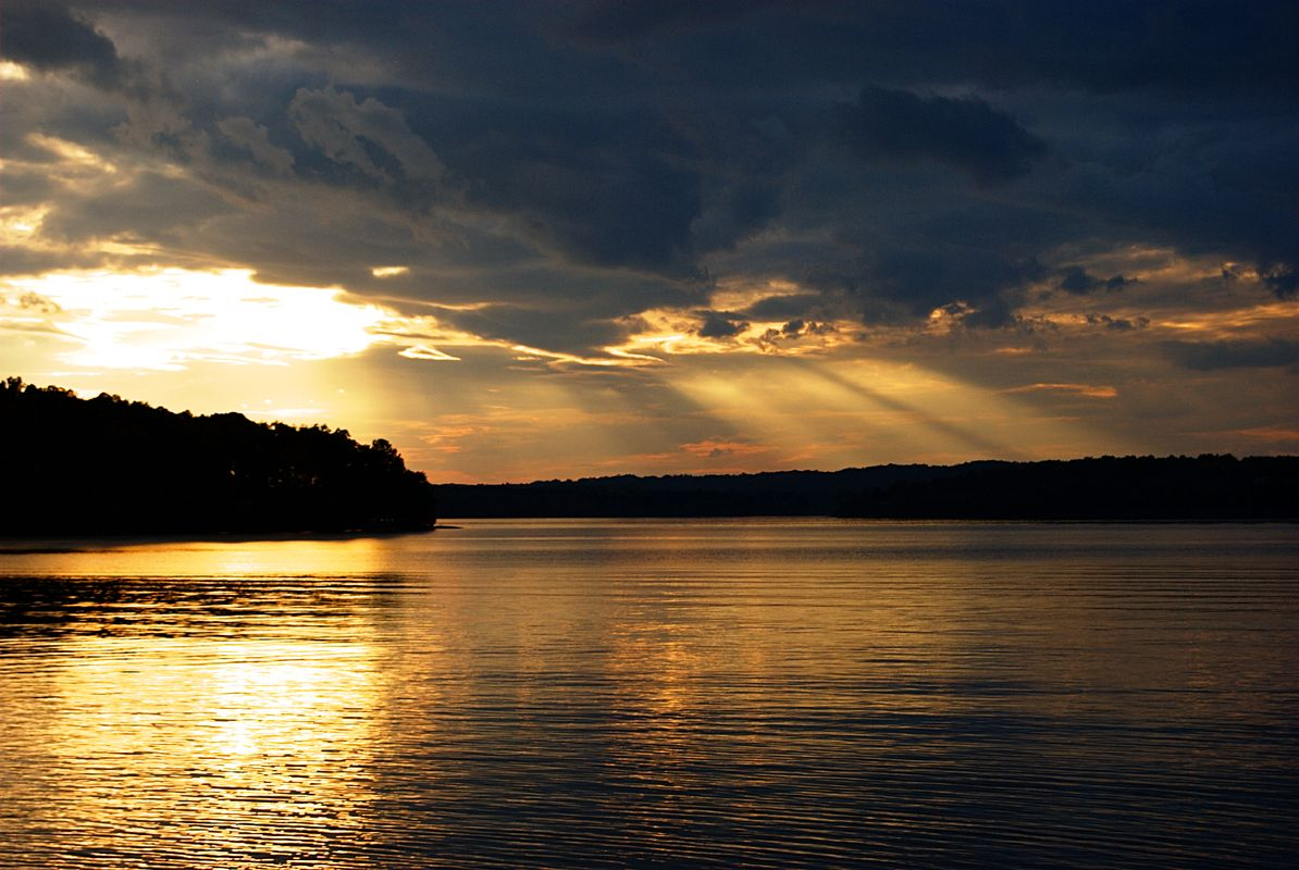 Celestial display over Badin Lake at sunset