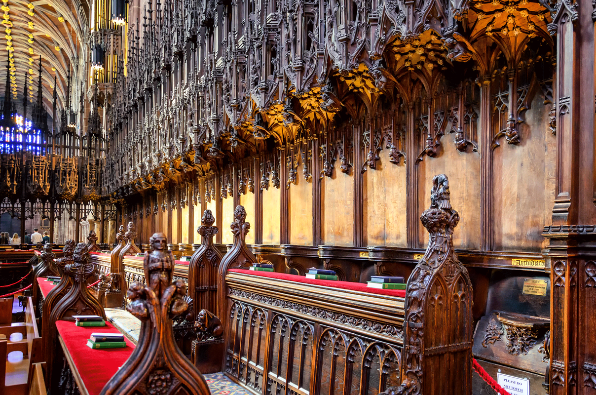 Chester Cathedral choir pews