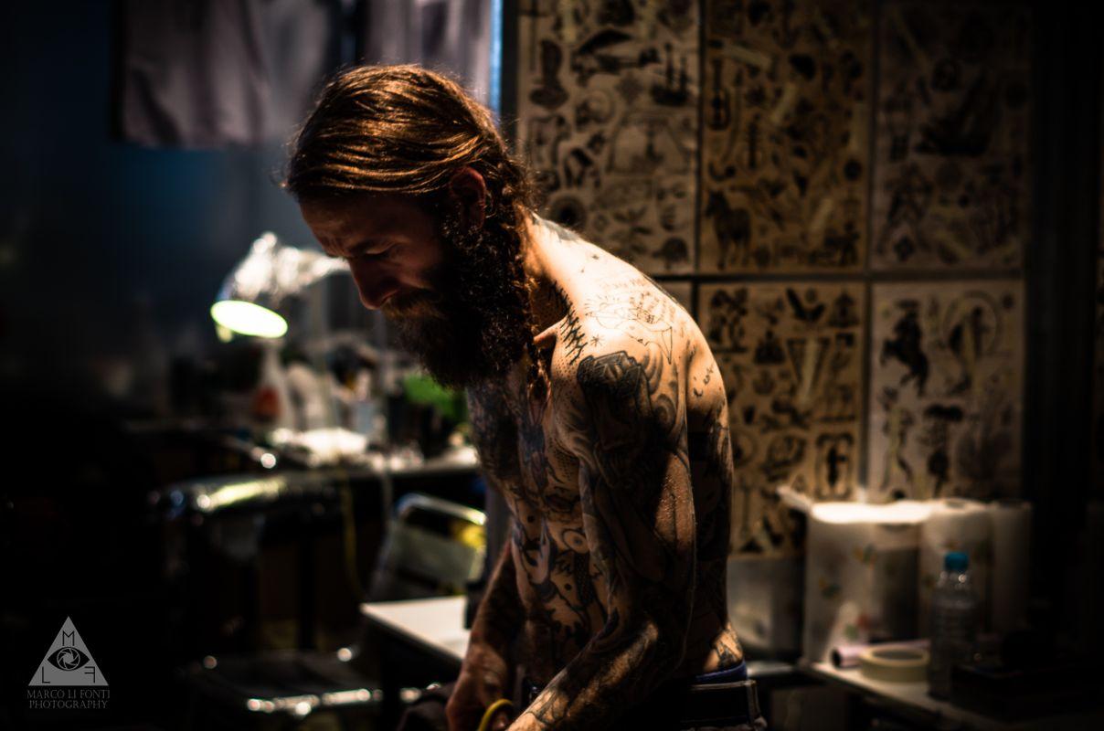 Street portrait of a tattooed man