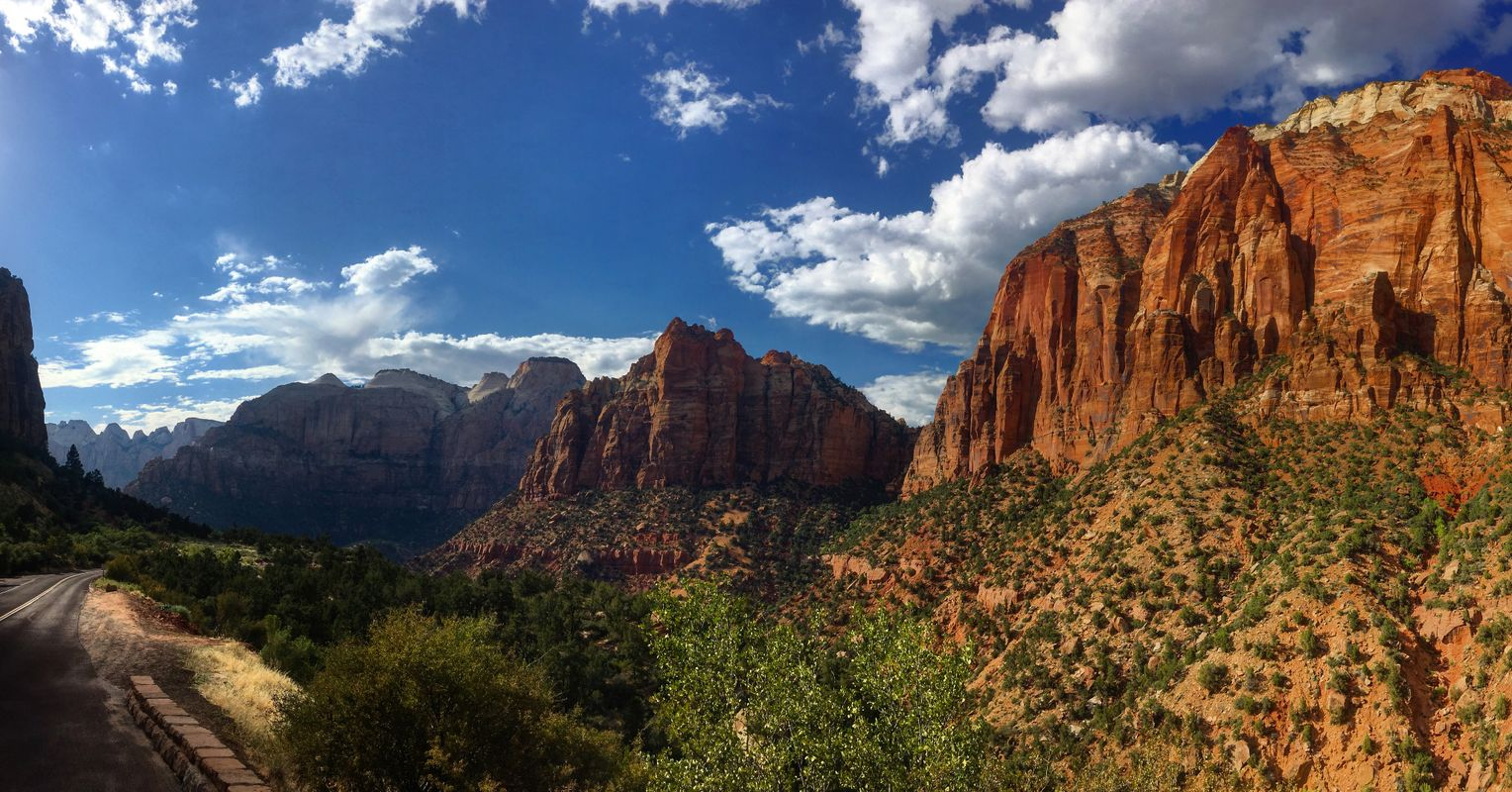 Roadside View of Zion Mountains