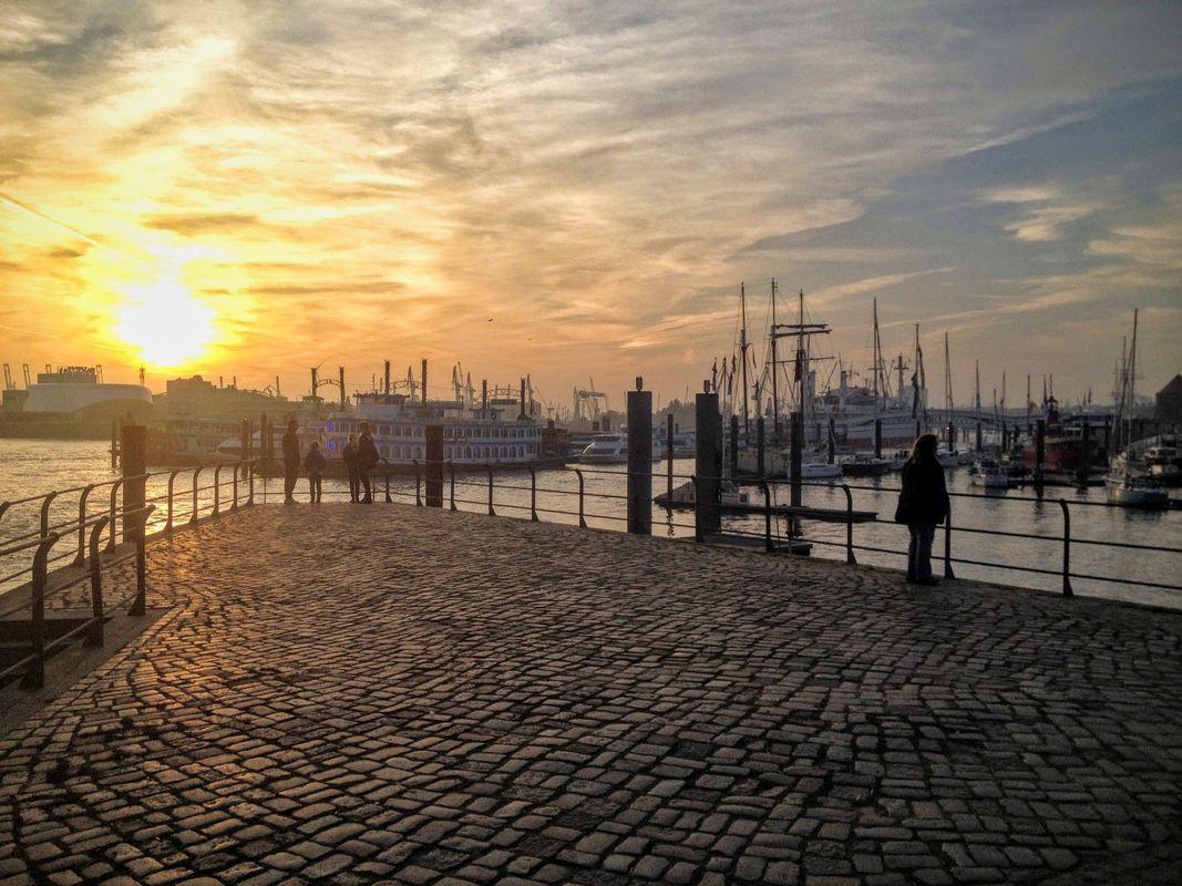 Evening mood Hamburg harbor - Germany