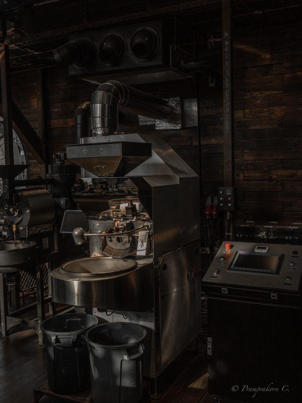 Coffee cafe machine with soft light