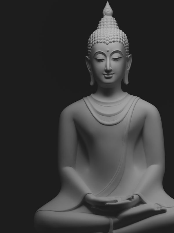 Peaceful Buddha images with soft light