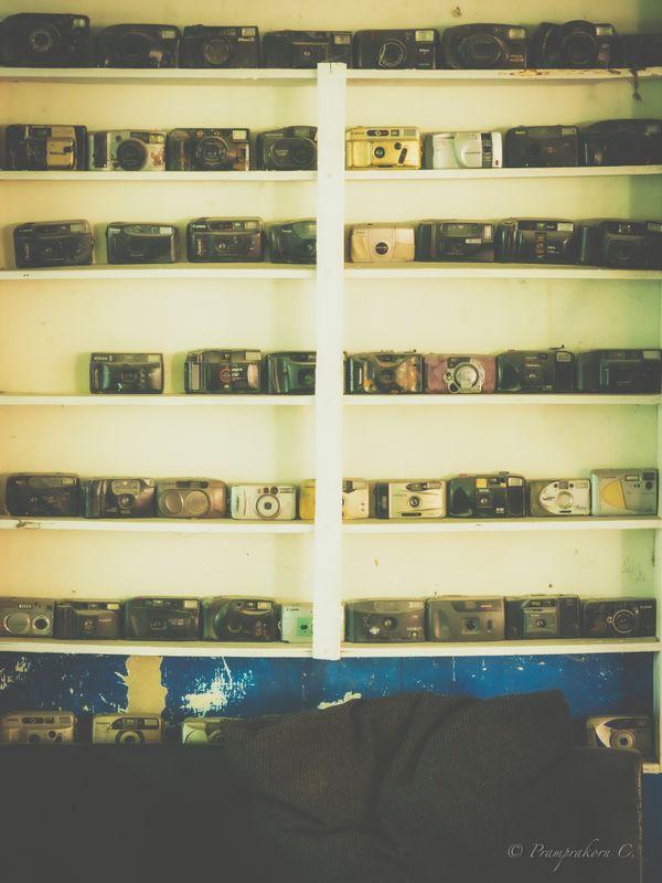 Old camera shelf.