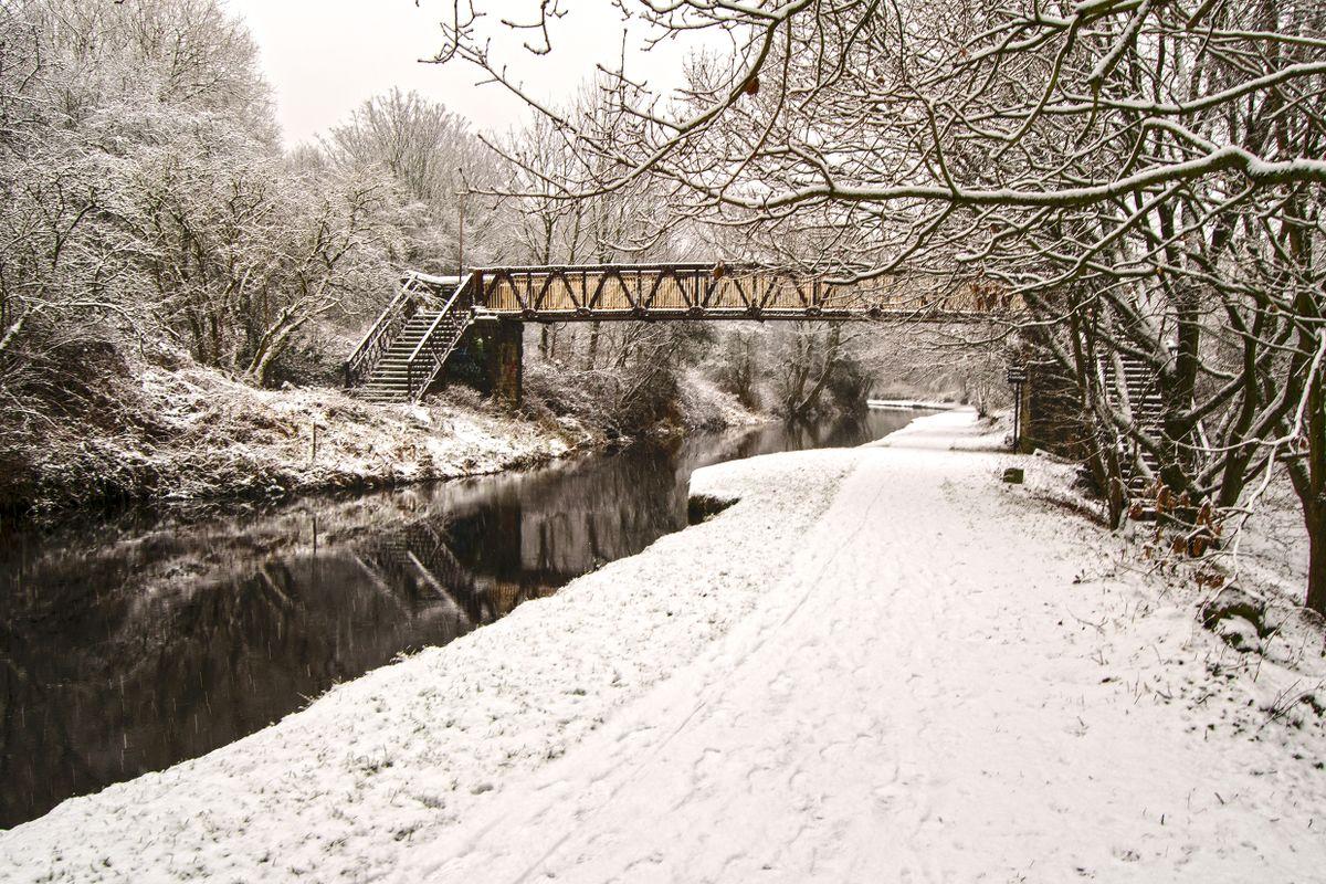 Copley Footbridge in the Snow.