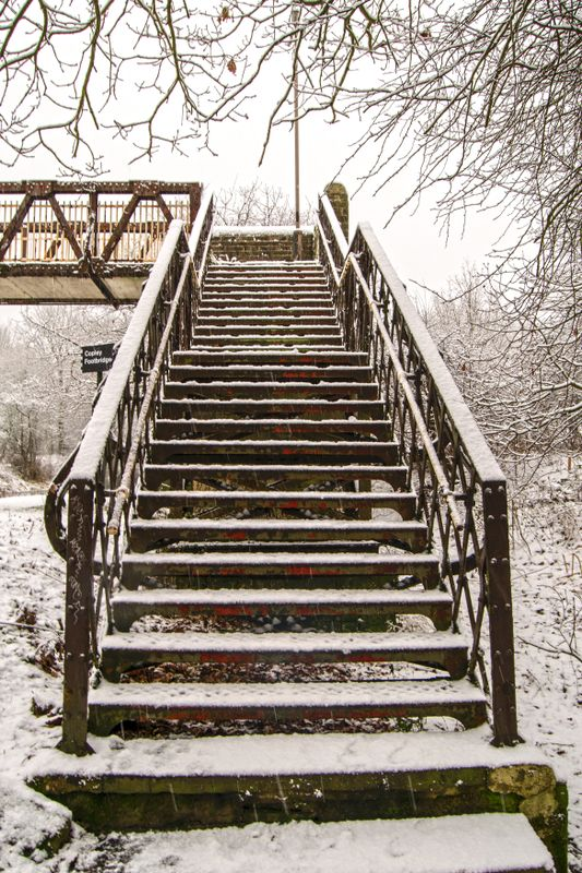 Metal Steps in the Snow.