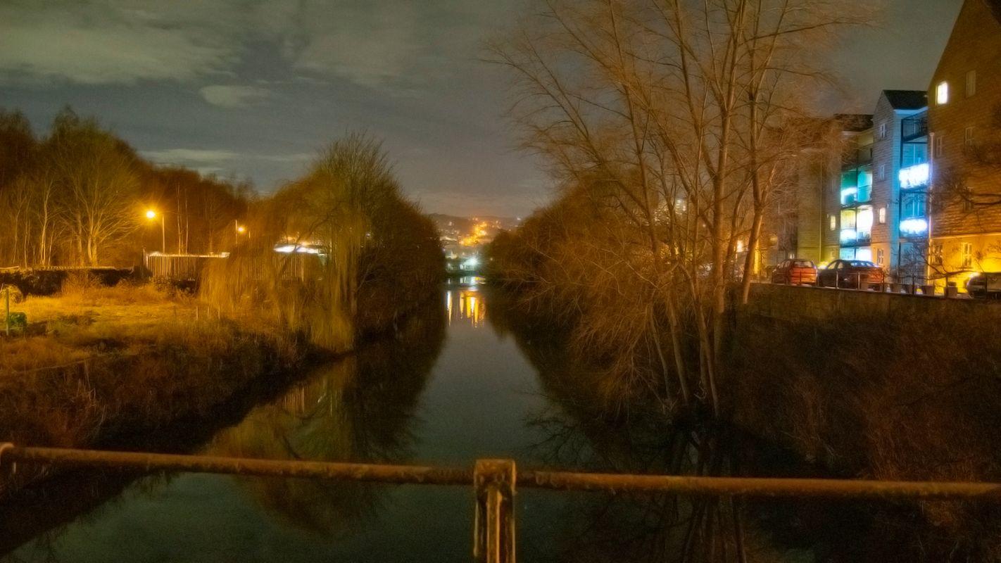 River Calder, Sowerby Bridge at Night