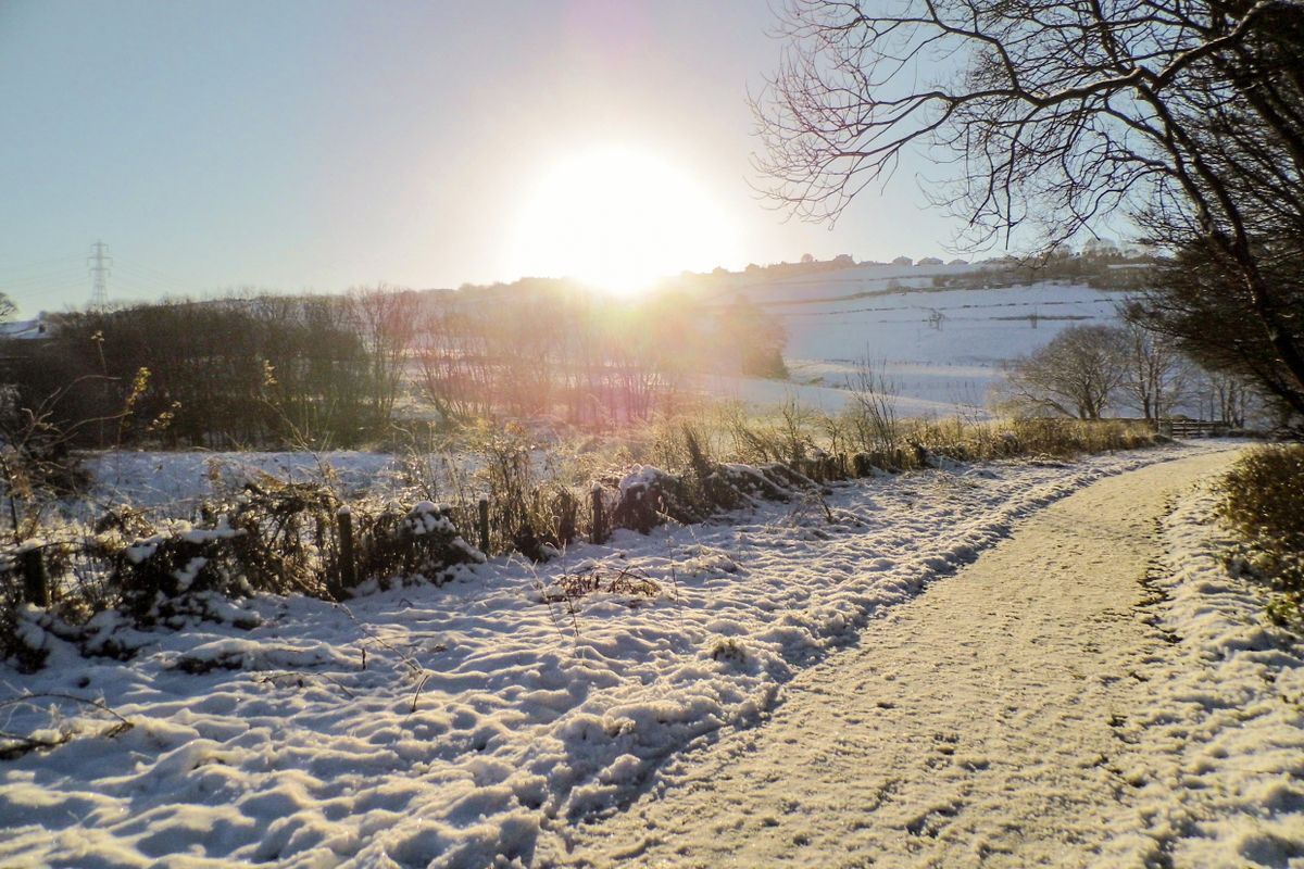 Sunrise on a Snowy Landscape.