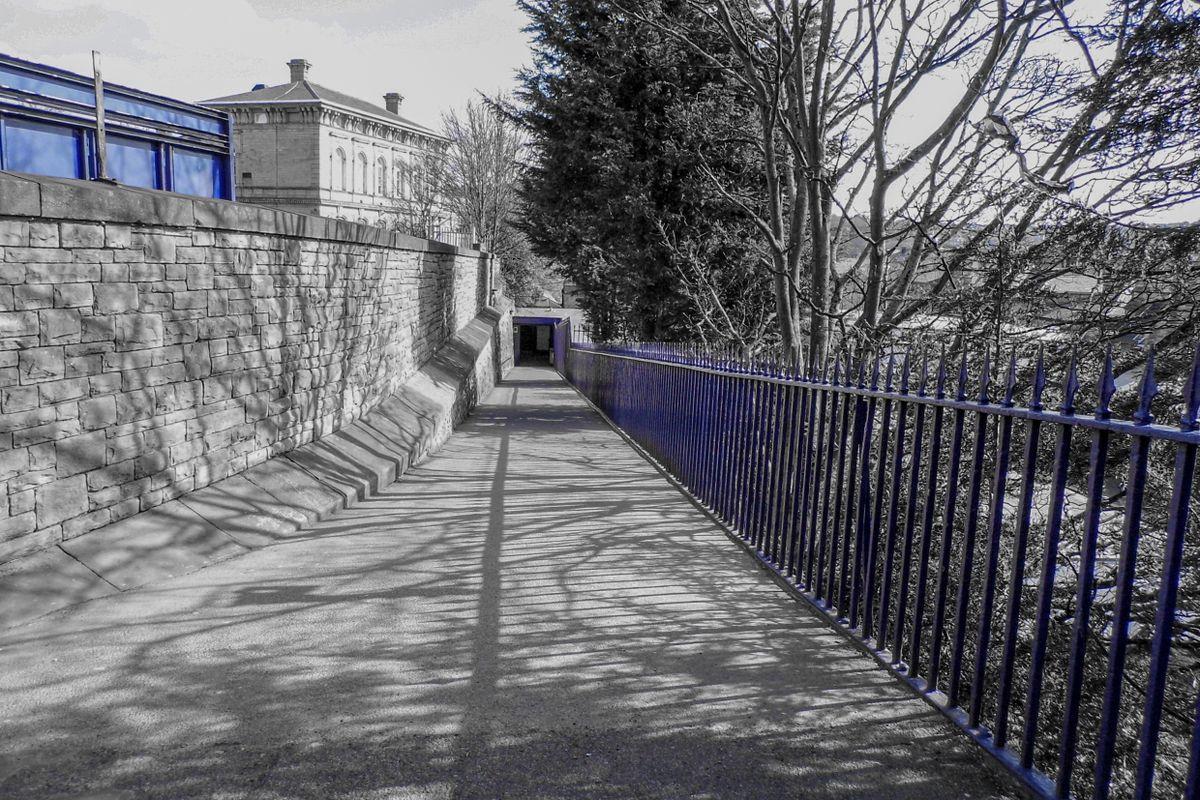 Black and White, Blue at Dewsbury Railway Station.
