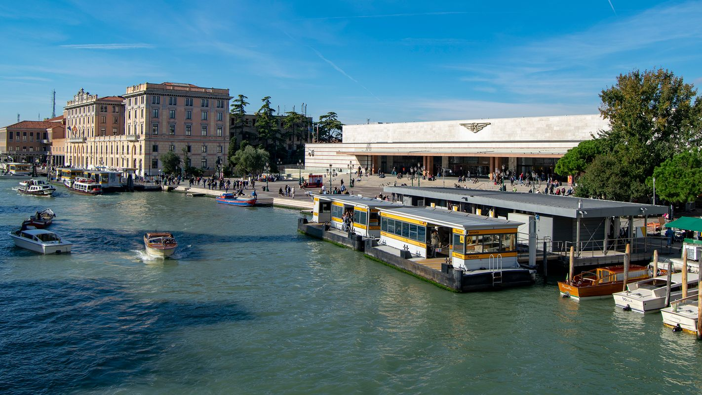 The Grand Canal, Bus Stops and a Railway Station.