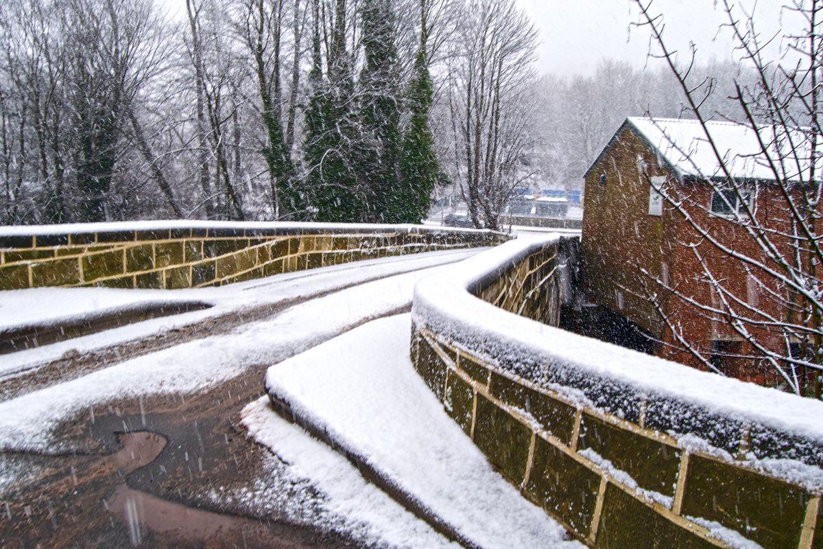 Snow Topped Mearclough Bridge
