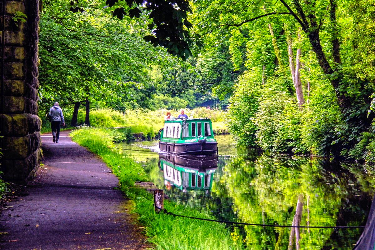 Narrowboat on the Calder & Hebble Navigation.