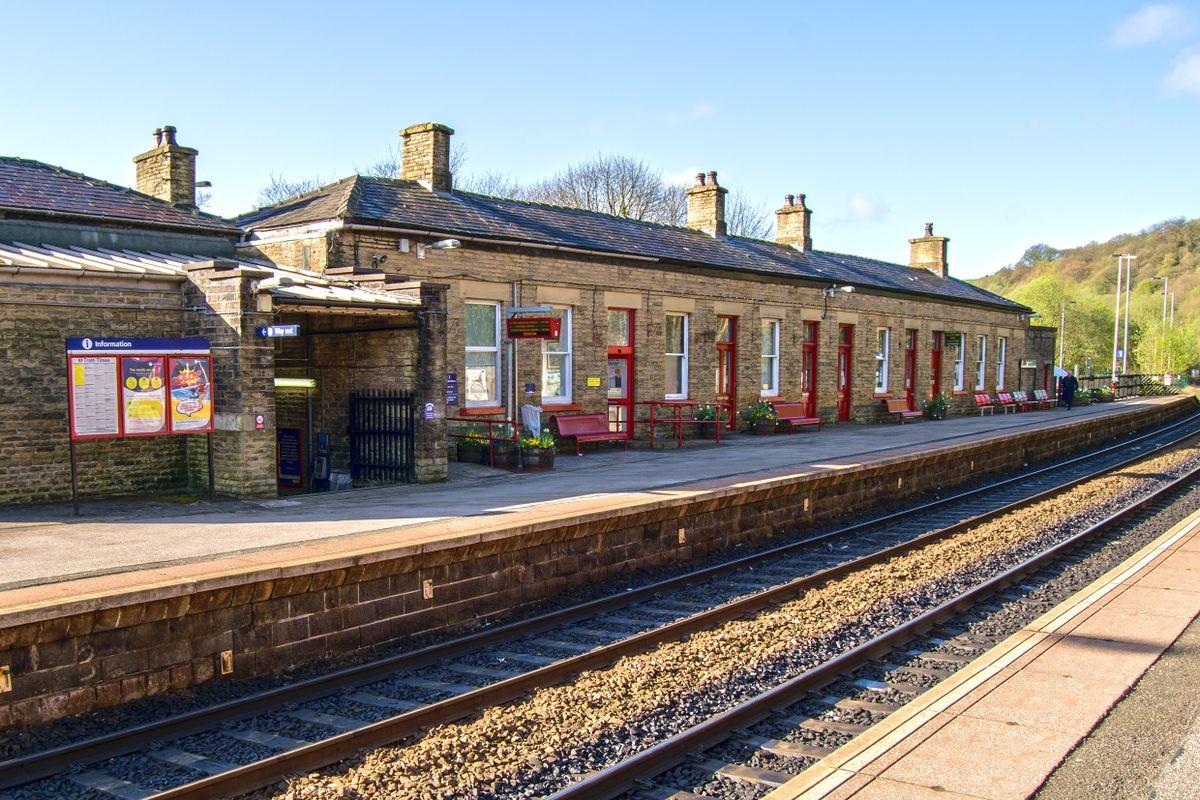 Platform 1 at Todmorden Station.