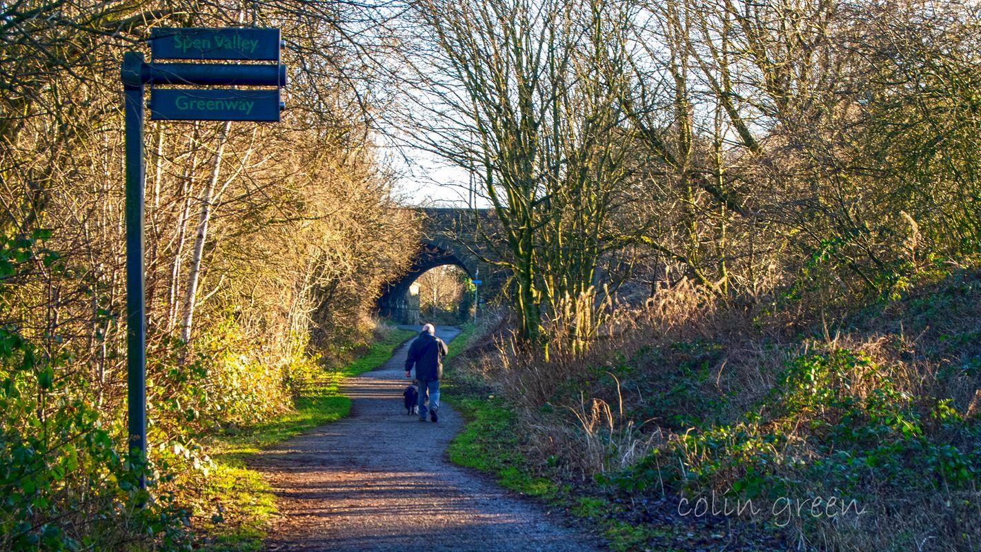 Walking towards Wyke Lane Bridge, Spen Valley Greenway