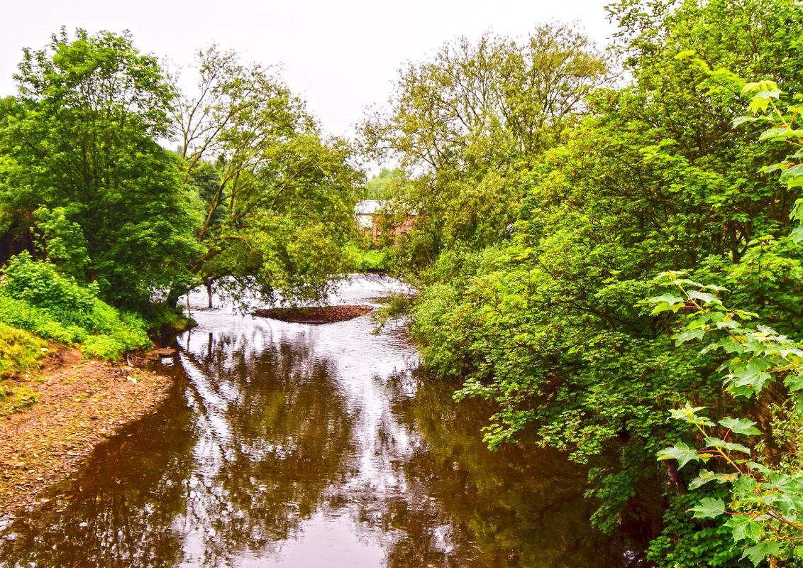 Mearclough Weir and the River Calder.