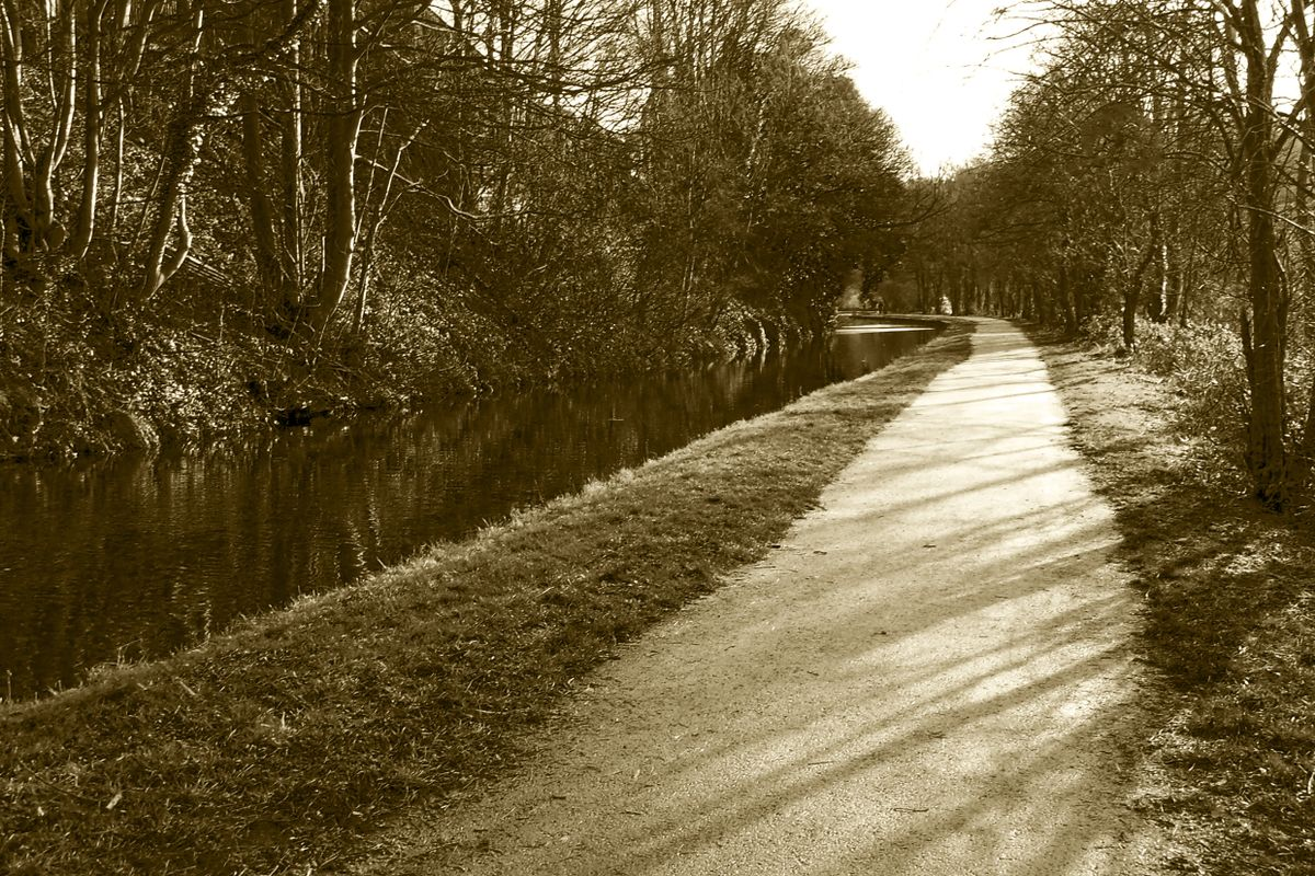 Path along the Calder & Hebble Navigation.