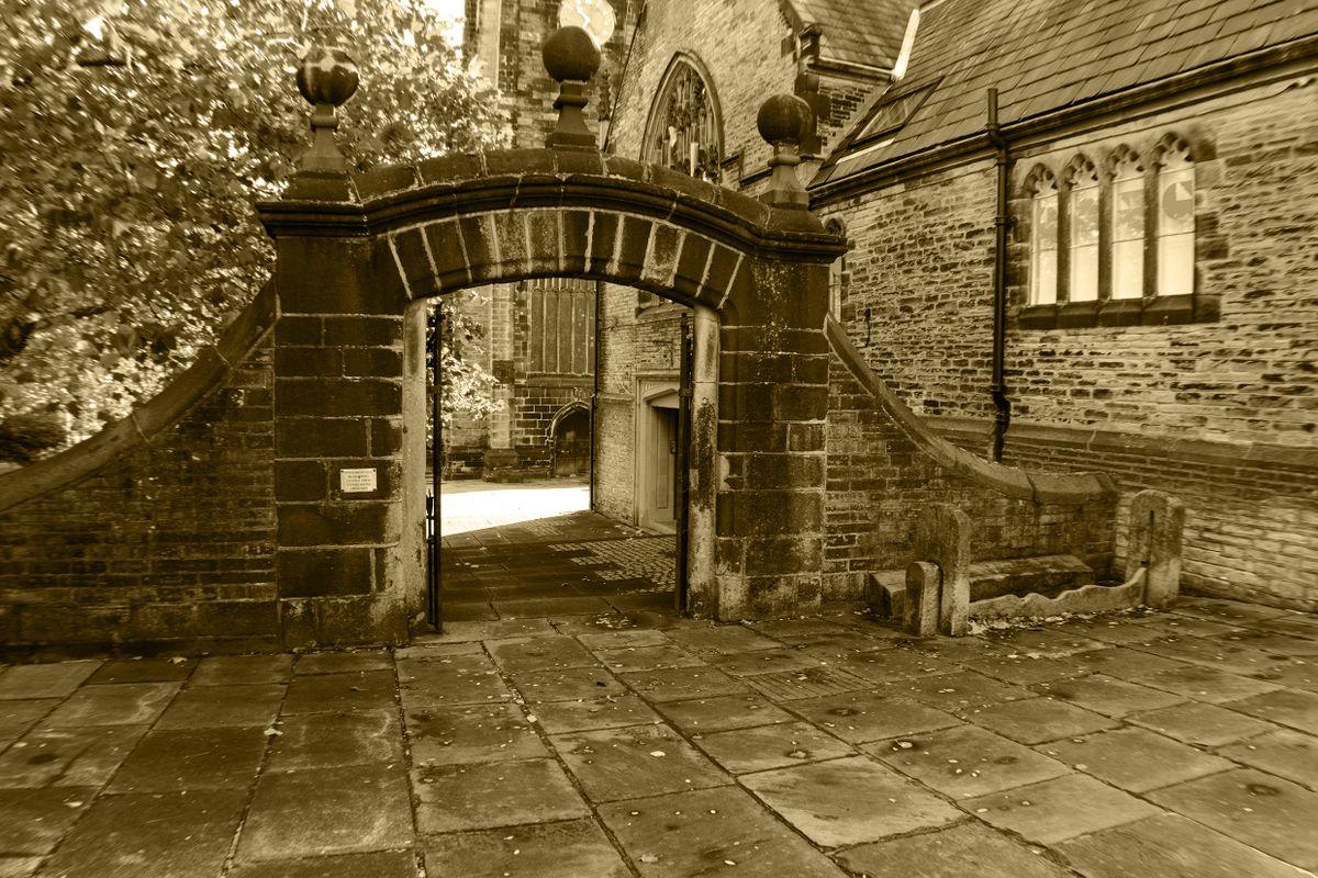 Halifax Parish Church West Gate and Stocks.