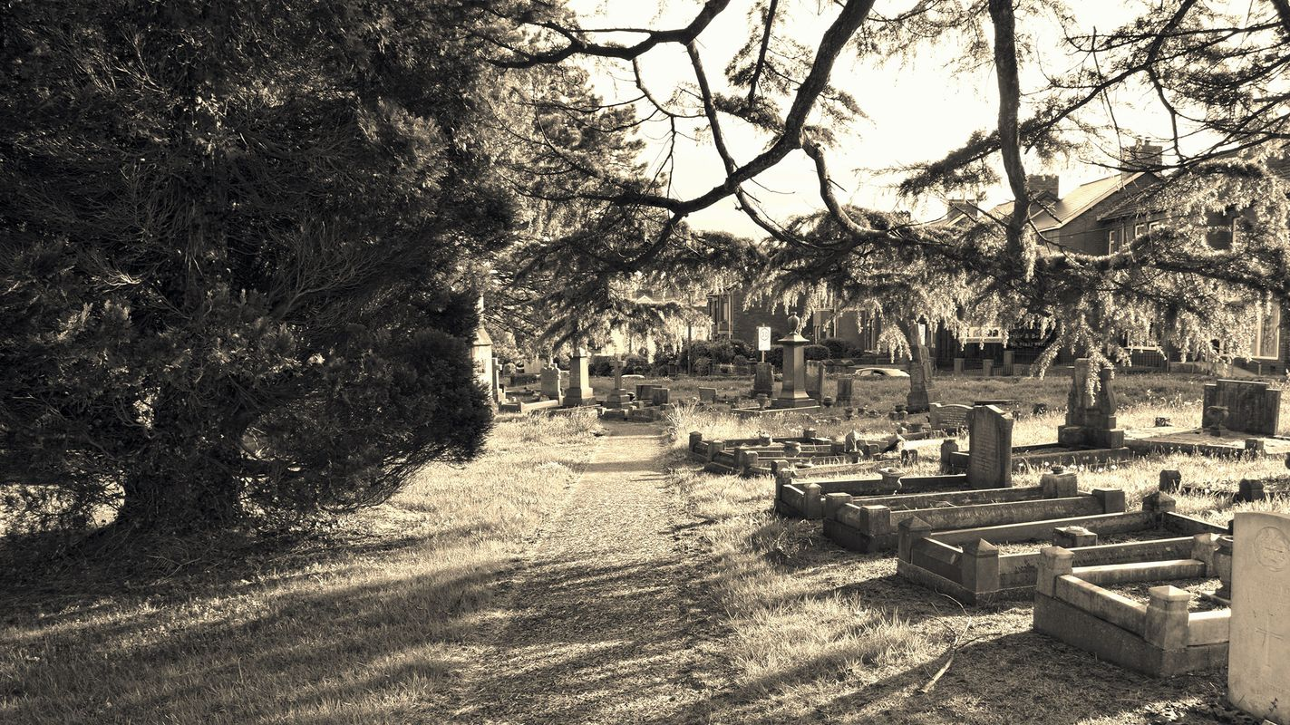 Churchyard of St John the Baptist, Rogerstone, South Wales.
