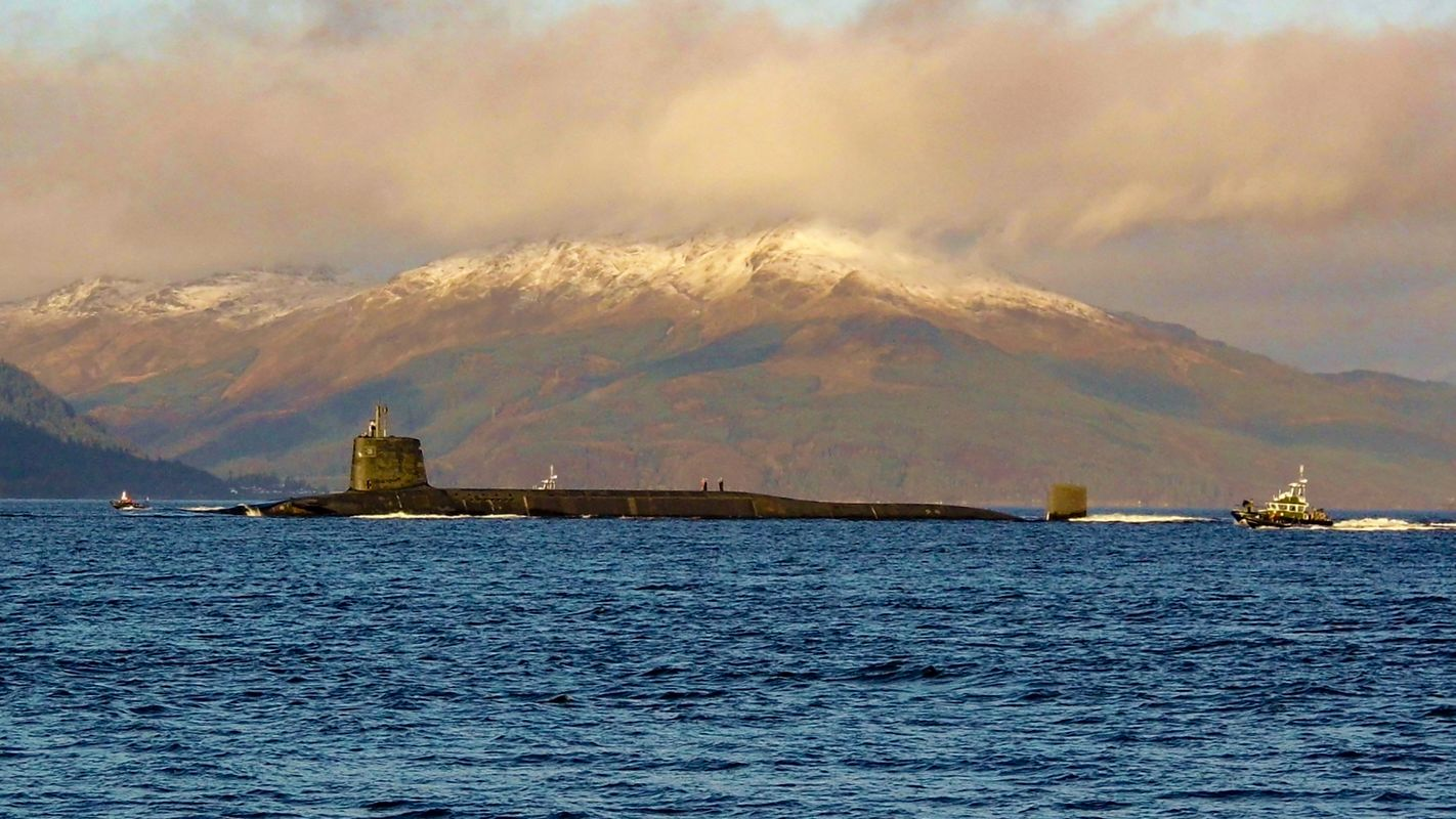 British Submarine Putting out to Sea on the River Clyde