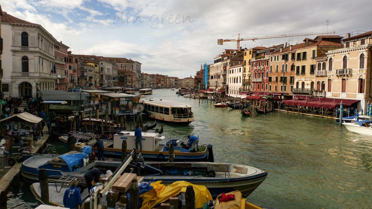 Busy Grand Canal at Rialto, Venice