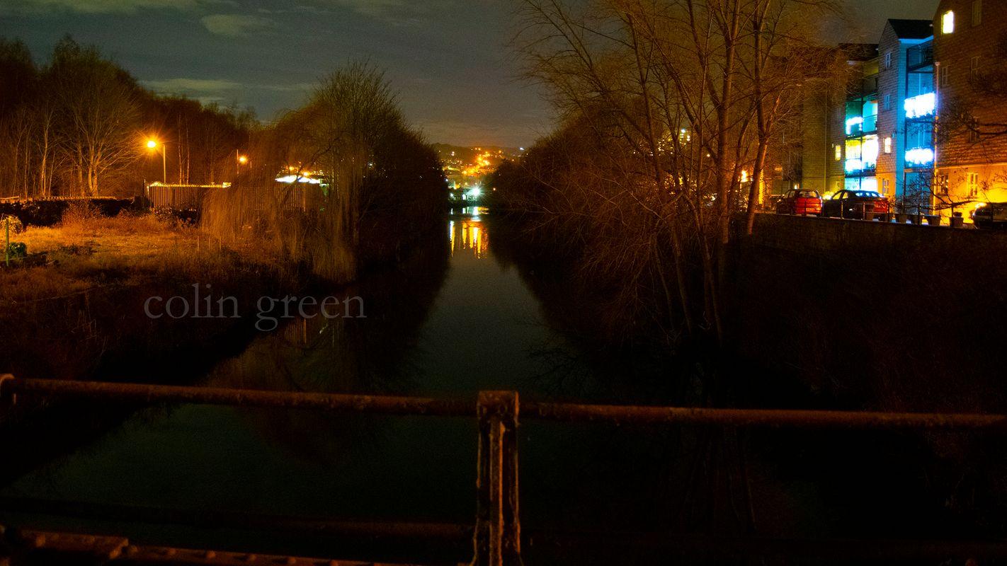 River Calder at Night from Gas Works Bridge.