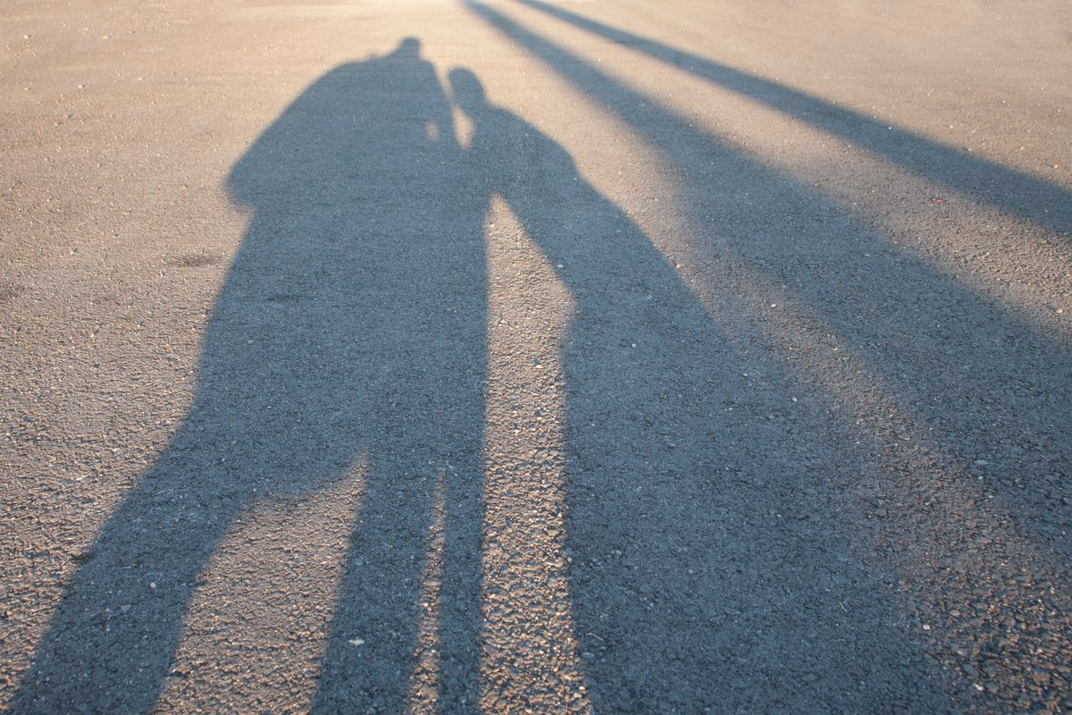 The shadow of parent and child