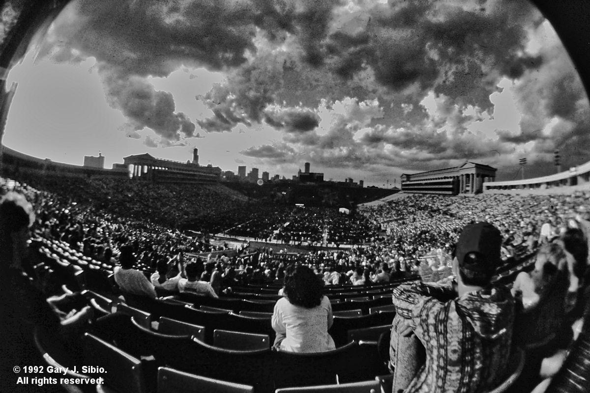 Grateful Dead Concert  - Soldier Field with Storm Clouds (Black & White Version) (1992-06-25 0009_01)