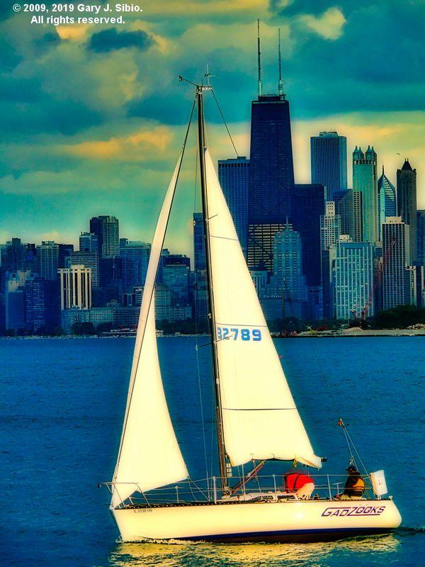 Sailboat on Lake Michigan on a Cloudy Day, Chicago, Illinois - Orton Version (2009-06-29 19-23-35b)