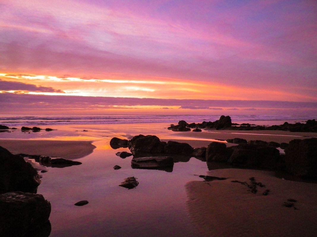 FIERY SUNSET SANDYMOUTH BEACH CORNWALL
