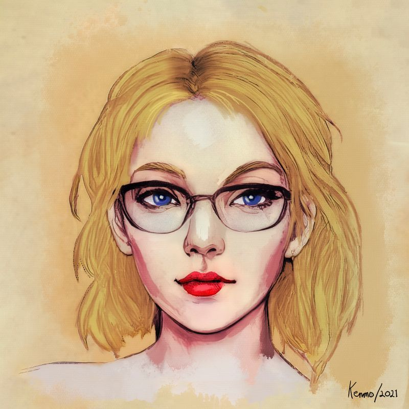 Pretty Blue Eyed Lady with Glasses