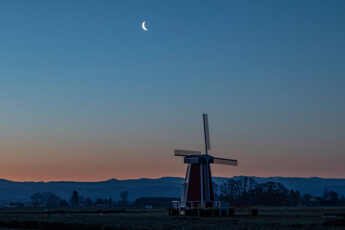 Crescent Moon over the windmill