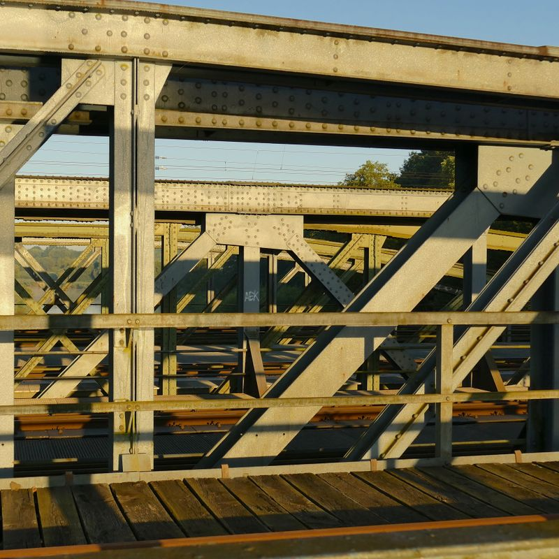 Truss of the Railroad Bridge during Sunrise