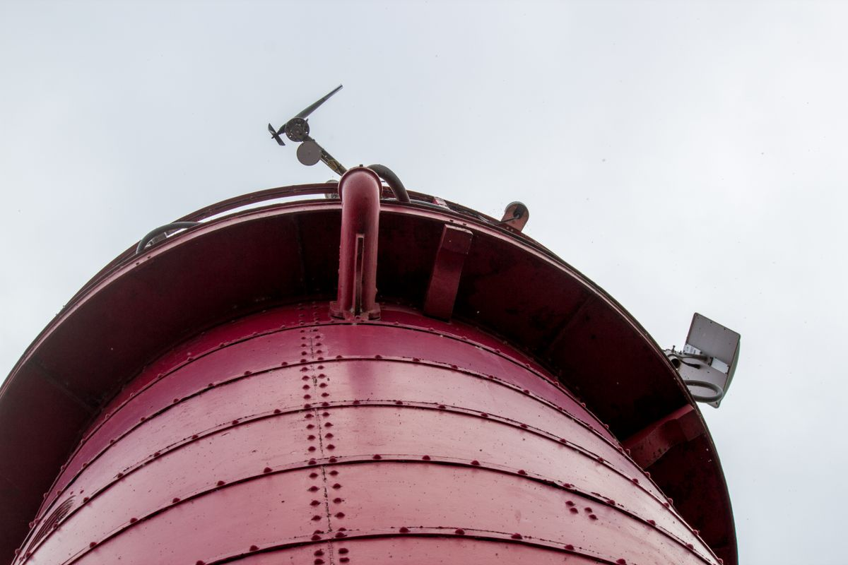 Weather station on top of the Sheboygan Breakwater Lighthouse