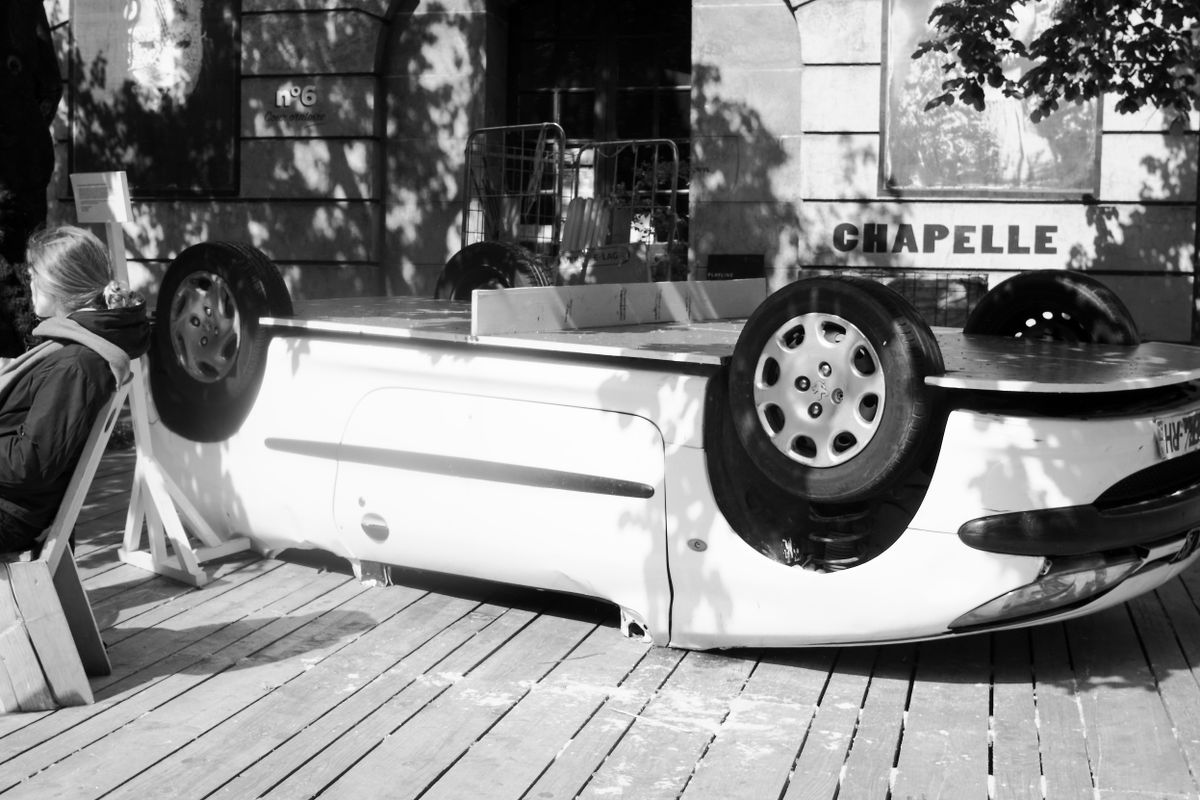 Ping-pong table on an overturned car