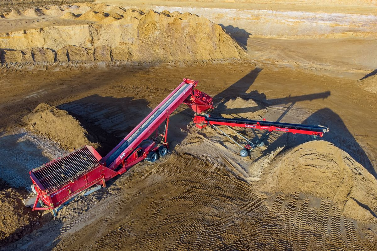 An Aerial View of a Terex Finlay 310 Screening Plant and TC5032 Conveyor in Duns Tew Gravel Pit, Oxfordshire