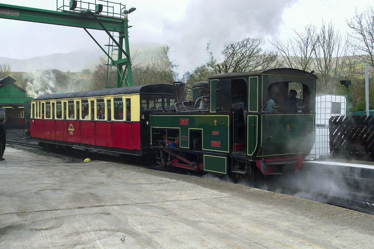 Snowdon Mountain Railway Train at Llanberis Station, Gwynedd, North Wales