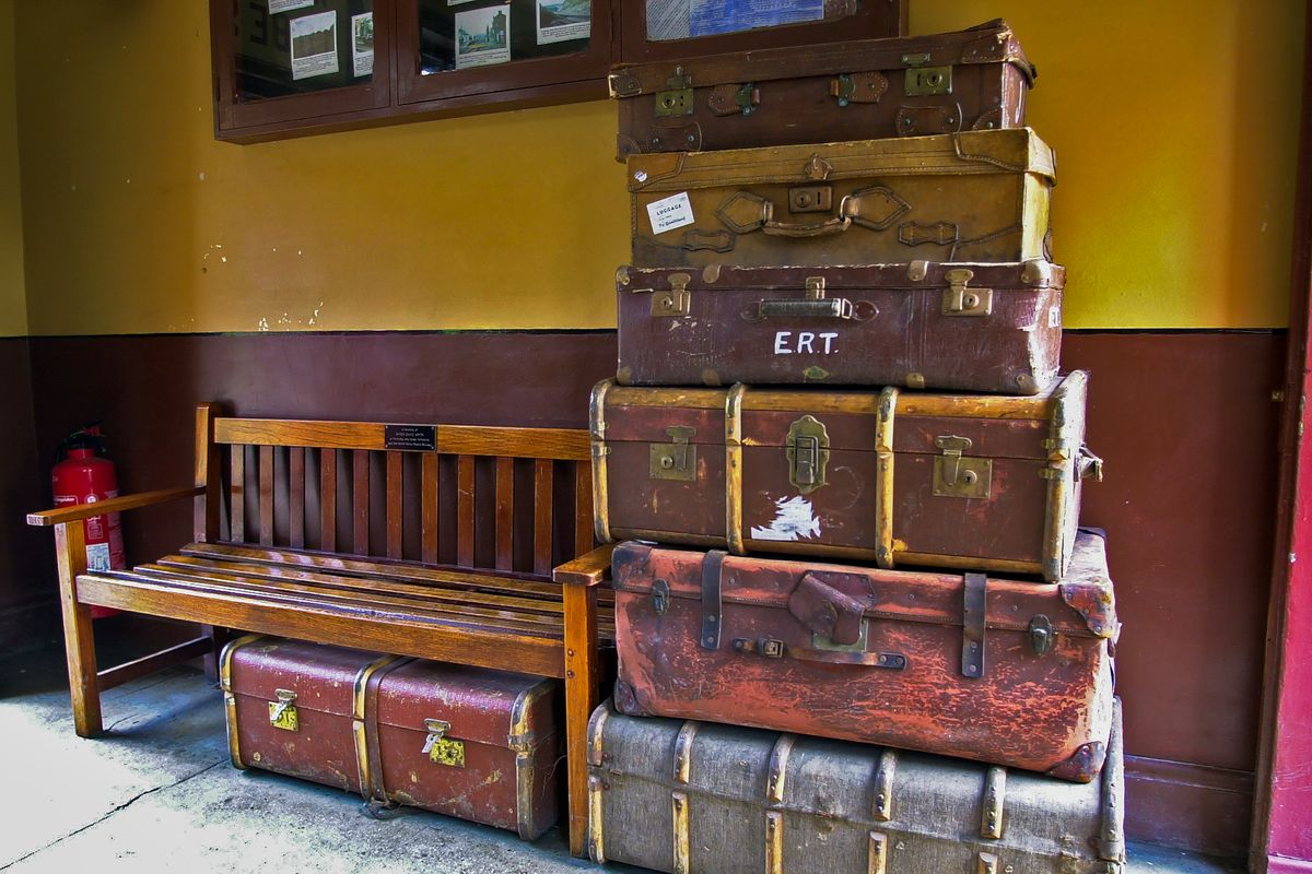 Luggage and Wooden Bench in the Waiting Room, Goathland Station, North Yorkshire Moors Railway, Yorkshire