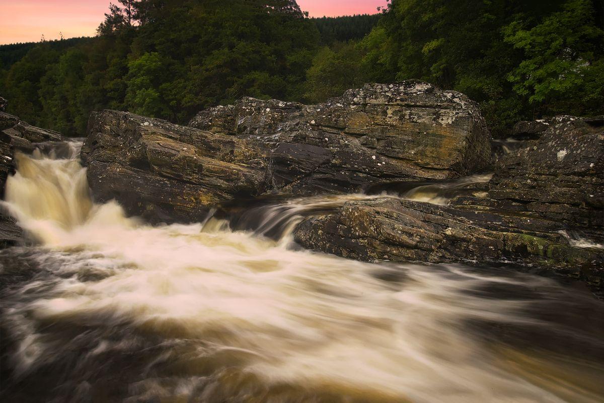 Sunset Over the Falls of Invermoriston, Highlands, Scotland