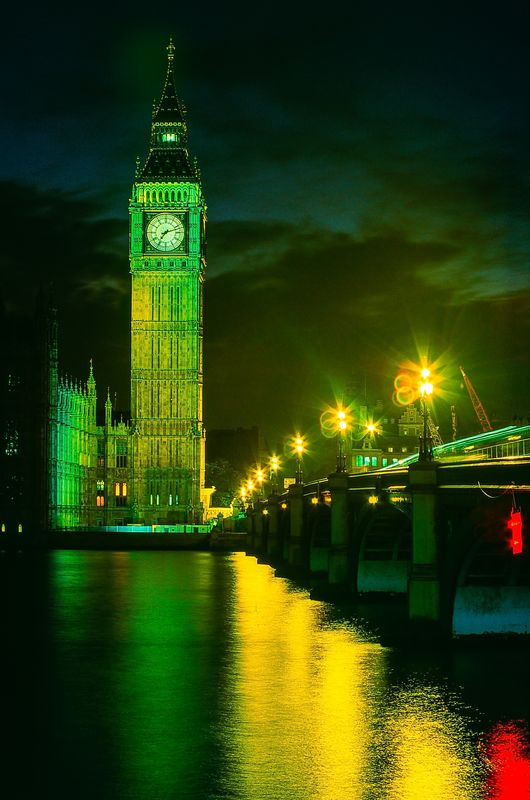The Elizabeth Tower, Big Ben and Westminster Bridge Across the River Thames, Westminster, London