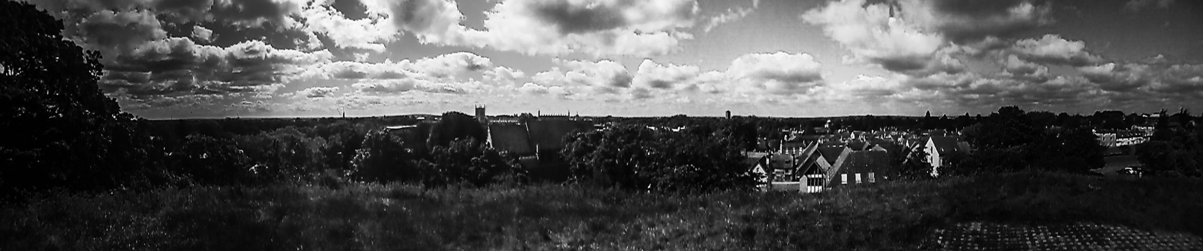 BW Panoramic View of Cambridge in England