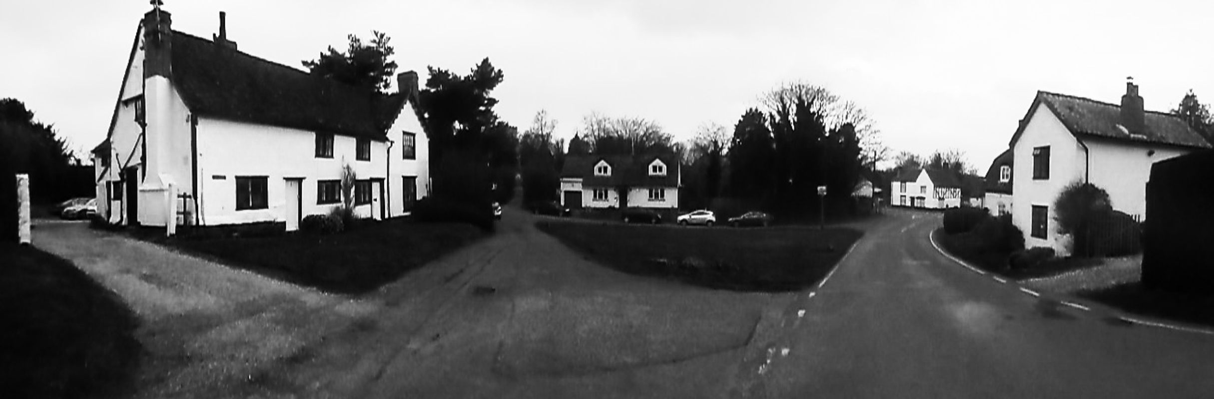 BW Panoramic View of Hadstock in England