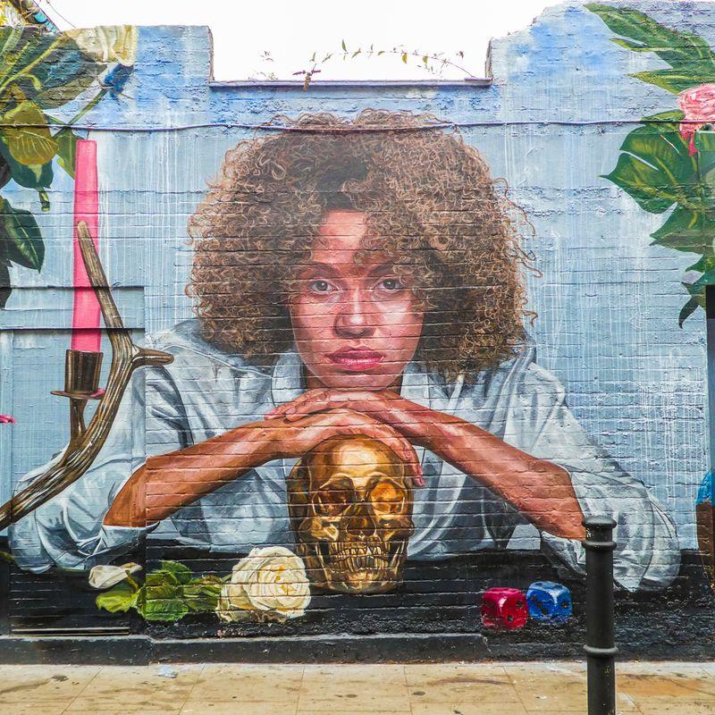 Graffiti in London in England.