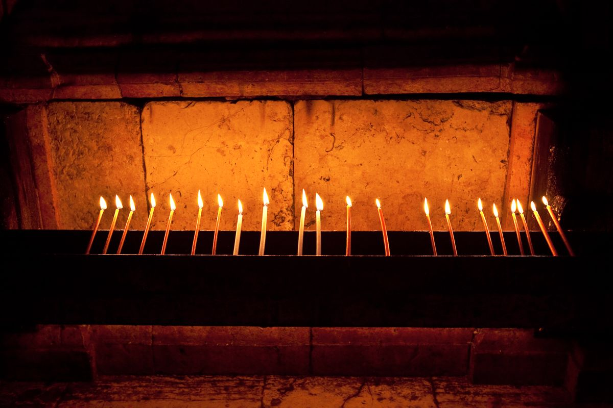 Candles in the church, Holy Land, Israel