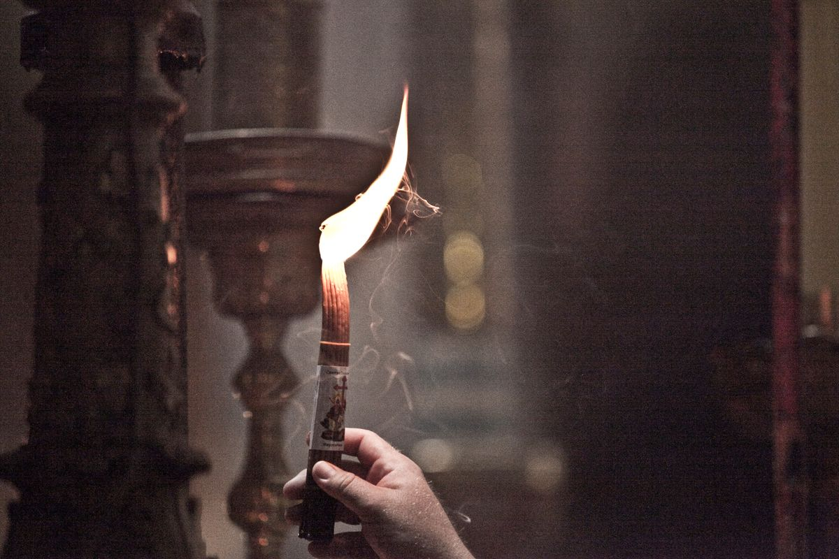 Candles in the church, Holy Land, lsrael