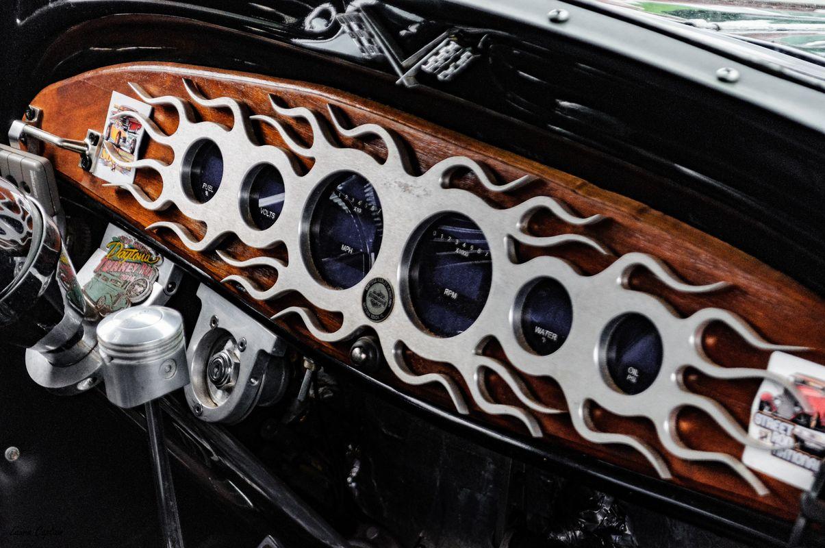 Vintage Dashboard -  Chrome Flames - 1933 Chevrolet 2 Door Sedan Hot Rod