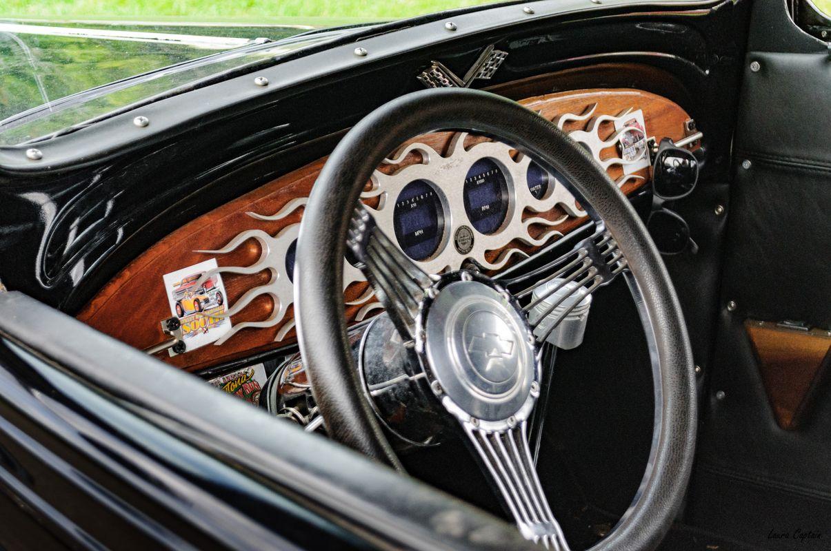 Antique Car Steering Wheel and Dashboard - 1933 Chevrolet 2 Door Sedan