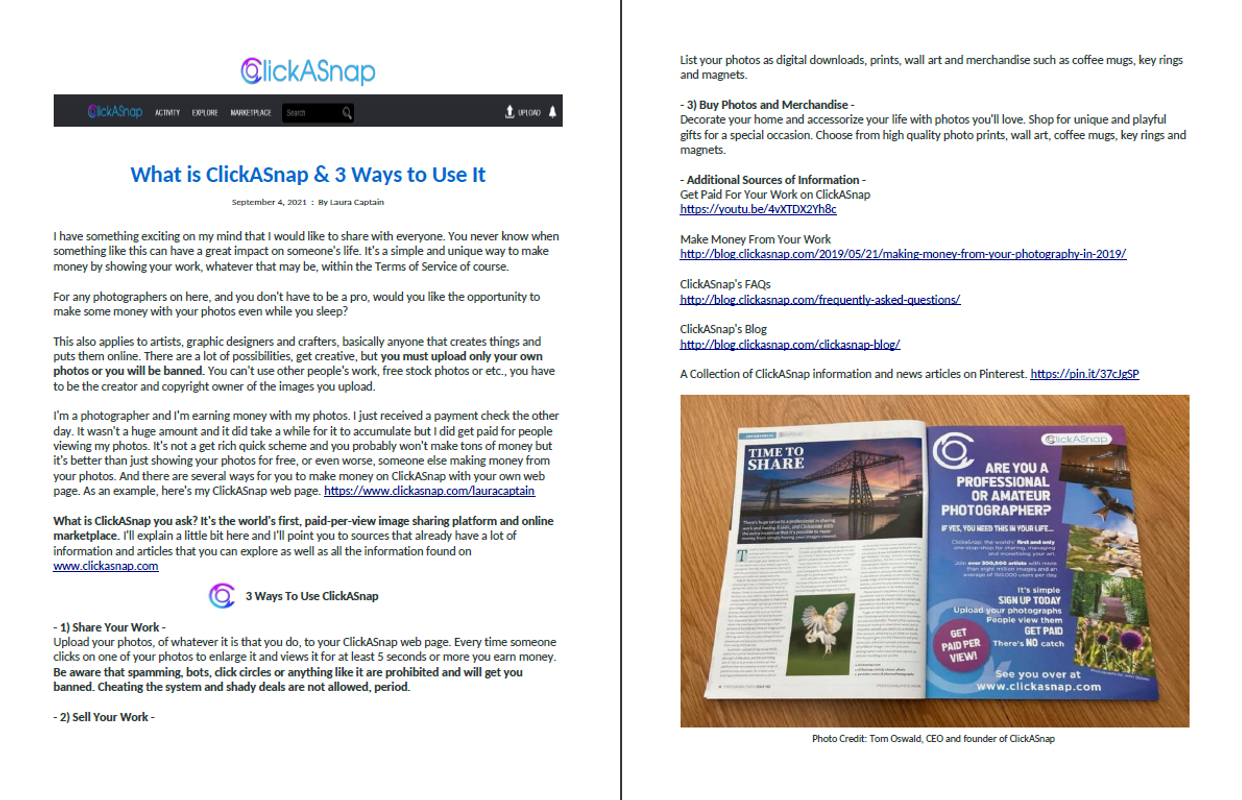 What is ClickASnap & 3 Ways to Use It - Spread the Love
