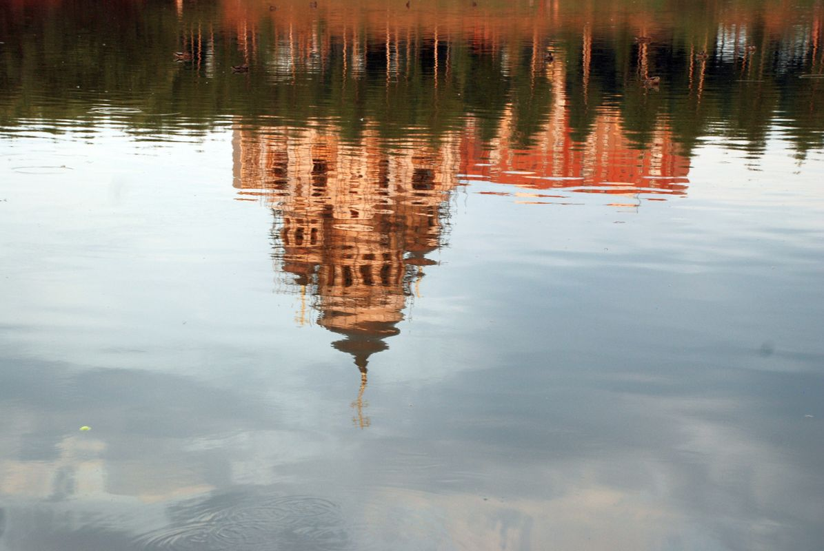 Reflection of the cathedral from water.